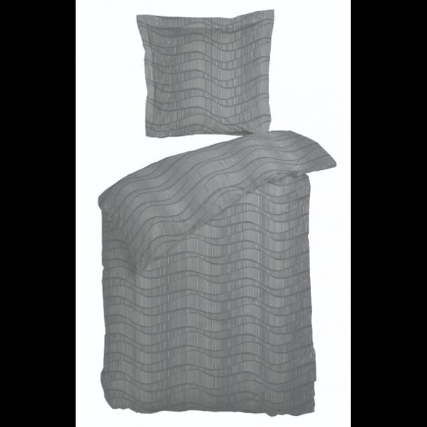 Sengetøj Flow grå satin 140x200 + pudebetræk 63x60 fra Night & Day
