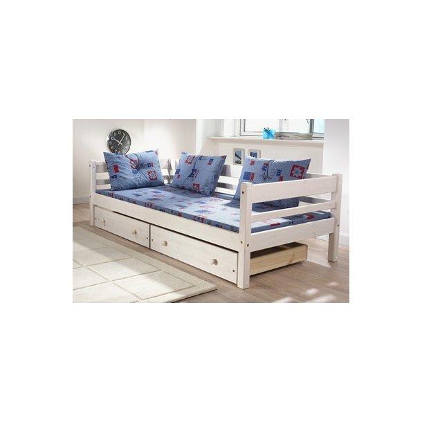 briks seng Briks/seng med opbevaring (2 skuffer, bund og rygstøtte) briks seng