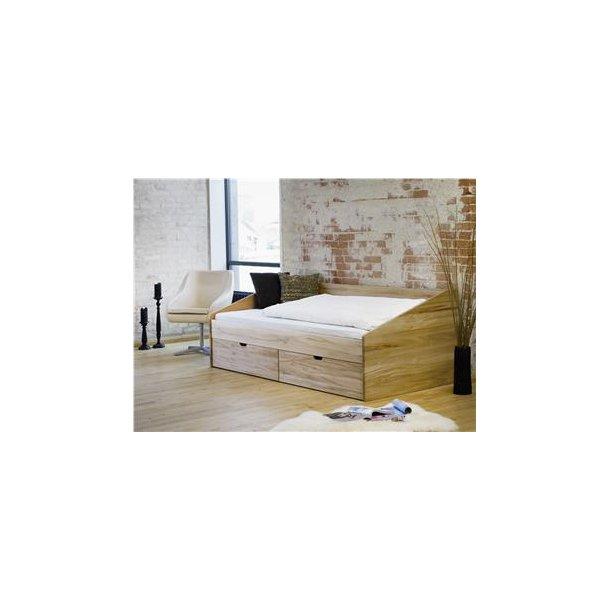 Messina briks/seng med opbevaring 90x200 cm., kernebøg med 2 skuffer